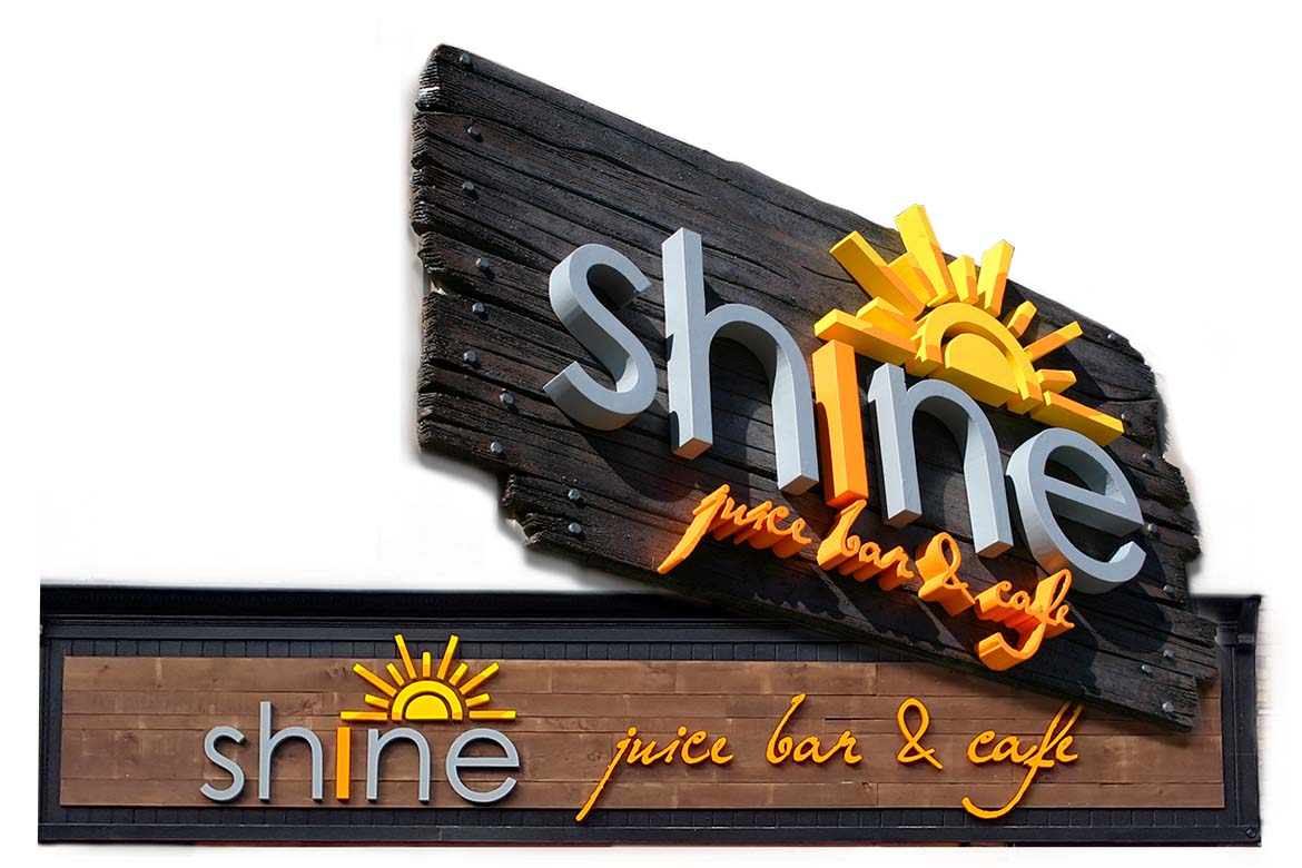 Shine Juice Bar 3D sign